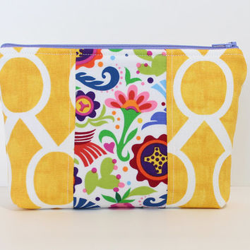 Makeup Bag Padded  Zipper Cosmetic Case or Accessory Bag with Yellow Fabric and Floral Accent