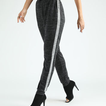 Charcoal Contrast Stripe Melange Sweat Knit Leggings - Plus Too