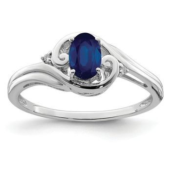 Sterling Silver Genuine Oval Blue Sapphire & Diamond Ring