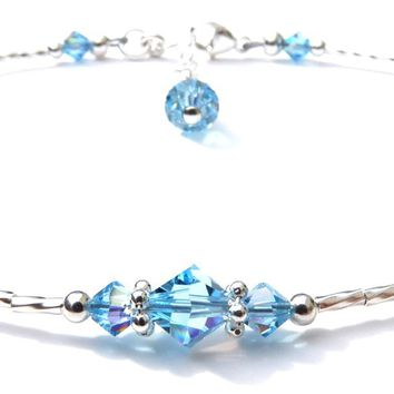 Handmade Sterling Silver Beaded Ankle Bracelets  | Birthstone Aquamarine March
