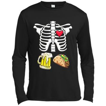 Tacos and Beer Pregnant Skeleton Halloween  Long Sleeve Moisture Absorbing Shirt