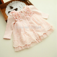2016 Spring and autumn 0-2 yrs baby clothing floral lace lovely princess newborn baby tutu dress infant dresses vestido infantil