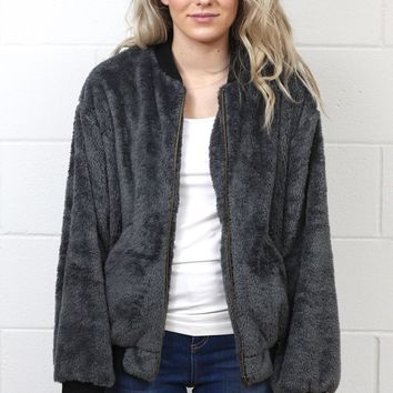 Fuzzy Plush Fleece Bomber Jacket {Charcoal}