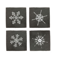 Snowy Slate Coasters - Set of 4