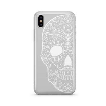 Henna Half Sugar Skull - Clear TPU Case Cover Phone Case