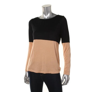 Dote Womens Nursing Colorblock Pullover Top