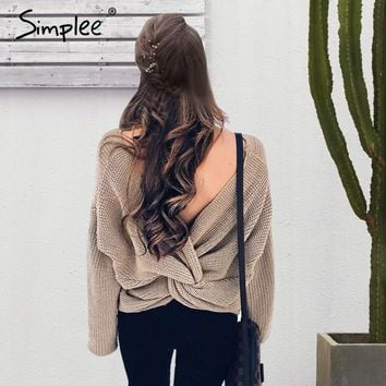 V neck sweater women loose long sleeve pull Fashion back bow soft pullovers thin sweaters jumper