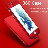 New! Iphone 7 Luxury 360 Degree Full Body Protection Cover Case For iPhone 6 6s 7 Plus With Tempered Glass