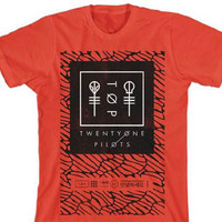 Officially Licensed  Twenty One Pilots Scale Panel T-Shirt (Red)
