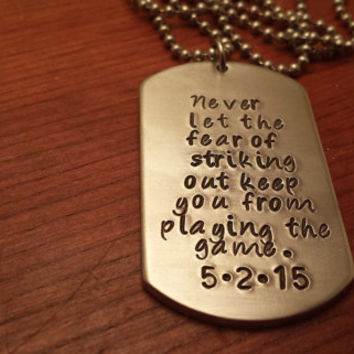 Baseball necklace-Personalized Baseball necklace-I love baseball-ballplayer necklace-Baseball necklace-Never let the fear of striking out