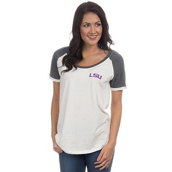 LSU Vintage Tailgate Tee in White and Heathered Grey by Lauren James - FINAL SALE