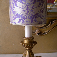 Antique Italian Gilt Carved Wooden Candlestick Table Lamp with Fortuny Richelieu Purple & Silvery Gold Lamp Shade