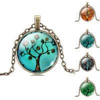 Tree Pendant Life Necklace glass with Bronze chain vintage choker Statement Jewelry