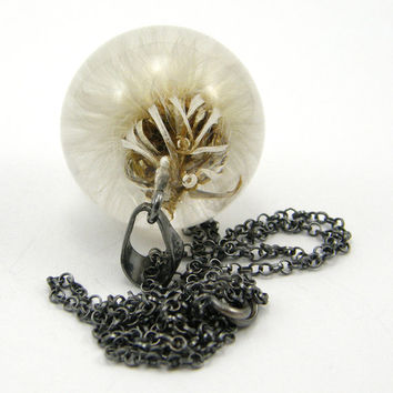 Feminine Dandelion Pendant, Very Fluffy Dandelion Medium Resin Round with Oxidized Sterling Silver Chain
