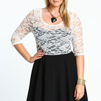Plus Size 3/4 Sleeve Lace Skater Dress - LoveCulture
