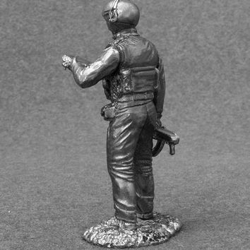 Military Figures Army Soviet 1/32 Scale Helicopter Pilot Officer 1986 Year Sculpture Toy Soldier 54mm Metal Miniature - Free Shipping