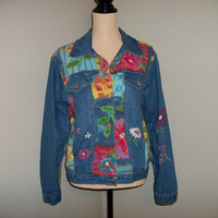 Denim Jacket Size Medium Blue Jean Jacket Hippie Boho Floral Jacket Floral Denim Coat Daisies Susan Bristol Free Shipping USA Women Clothing
