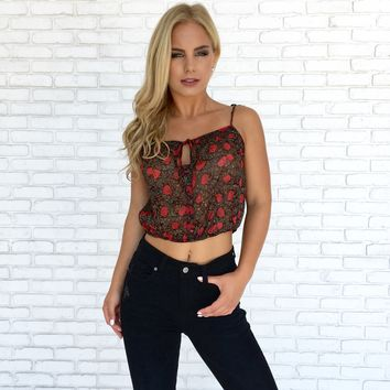 Ruby Floral Sheer Crop Top