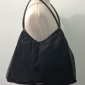 GUCCI Black Suede Leather Black HandBag Hobo Tote Bag