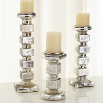 Block Pillar Candleholders, 3-Piece Set