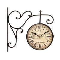 "Adeco Antique Look Brown, Round Wall Hanging Clock ""Botanique"" Roman Numerals, Scroll Wall Mount Home Decor"