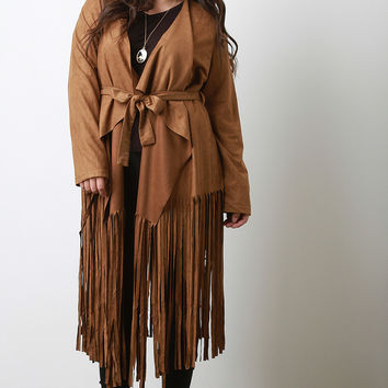 Belted Fringed Suede Trench Coat