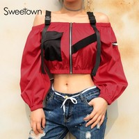 Sweetown Bomber Coats And Jackets Women 2018 Red Patchwork Chaqueta Mujer Streetwear Off Shoulder Long Sleeve Cropped Jacket