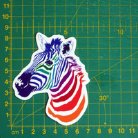 Rainbow Zebra Head Sticker Decal