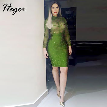 HEGO  Sexy Perspective Mesh Rivets Studded Long Sleeve Bandage Dress H1577