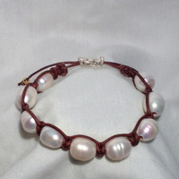 Shamballah style bracelet with fresh water pearl and natural leather cord   orianalamarca