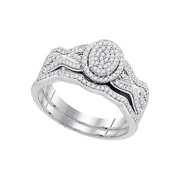 10kt White Gold Womens Round Diamond Oval Cluster Bridal Wedding Engagement Ring Band Set 3/8 Cttw