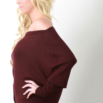Rib Knit Off The Shoulder Dolman Sleeve Baggy Sweater