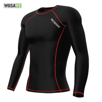 WOSAWE Mens Compression Base Layer Top Long Sleeve Bike Bicycle Cycling Jersey/ Running Fitness Gym Sports Shirt