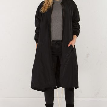 Parachute Bomber Jacket in Black and Moss