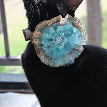 Brown and Blue Cat Collar Accessory with Egyptian Ancient Inspiration Fabric Flower