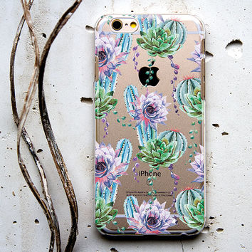 Cactus Flower on Clear Transparent Case Cover for iPhone 6 6s Plus iPhone 5 5s iPhone 4 4s Samsung Galaxy S6 S5 S4 Note 5 4 3 iPod 5 124