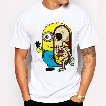 Fashion minions skull printed men t-shirt short sleeve funny tee shirts for man Hipster O-neck causal cool tops