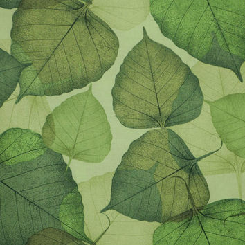 Green on Green Flora Leaf Print Pure Cotton Fabric from Timeless Treasures--One Yard
