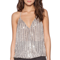 Parker Madden Sequin Top in Taupe