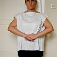 White Tunic Top, Minimal Geometric Shirt with Embossed Jersey Fabric