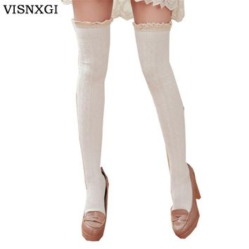 Design Thigh High Over The Knee Socks Long Cotton Stockings For Women Winter Warm Lace Soft Knit Crochet Cuff Crochet Trim W037