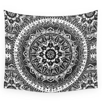 Society6 Black And White Mandala Pattern Wall Tapestry