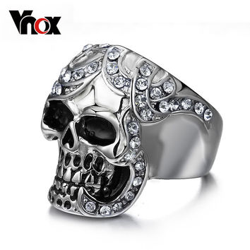 Vnox Vintage Europe Silver Plated Simulated Synthetic Diamond Skull Rings Party King Men Ring Rock Punk Horrible Rings