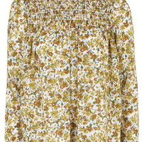 Ditsy Floral Print Ruffle Neck Blouse - Mustard
