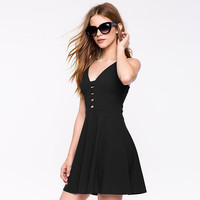 2016 Spring Summer Sexy Fashion Hot V-Shape Backless Slim Waist Design Black Women One-piece Dress
