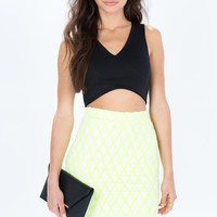 Neon Diamond Pattern Pencil Skirt