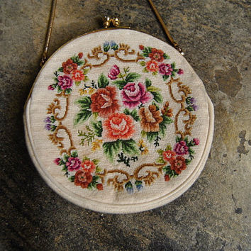 vintage purse, 1950's floral needlepoint wristlet bag w/ snake chain