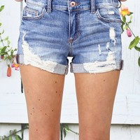Ripped Distressed Cuffed Denim Shorts {Md. Wash}