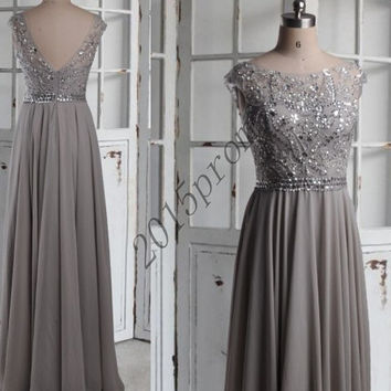 Long Handmade Light Gray Beaded Prom Dresses,Backless Prom Dresses 2015,Foraml Party Grown Evening Dresses,Homecoming Dresses