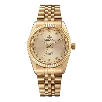 Gold Stainless Steel Quartz Wristwatches For Man